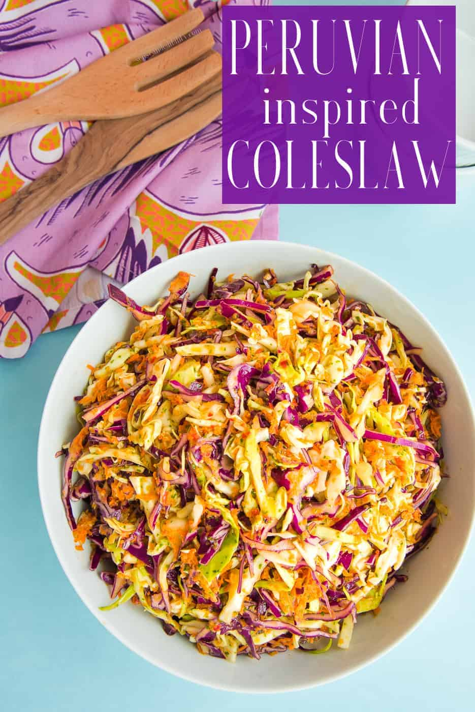 Peruvian inspired coleslaw combines the bright flavors of Peruvian green sauce in a mayo-less dressing. Great for cookouts or BBQs it's make-ahead friendly, as well as vegan, and gluten-free. #coleslaw #Peruvian #Peruviangreensauce #sidedishes #sides #cabbage #nomayo #accompaniments #BBQsides #CookOutsides #cookoutrecipes #BBQrecipes #glutenfree #vegan #blackfoodblogger #PuertoRicanrecipewriter  via @ediblesense