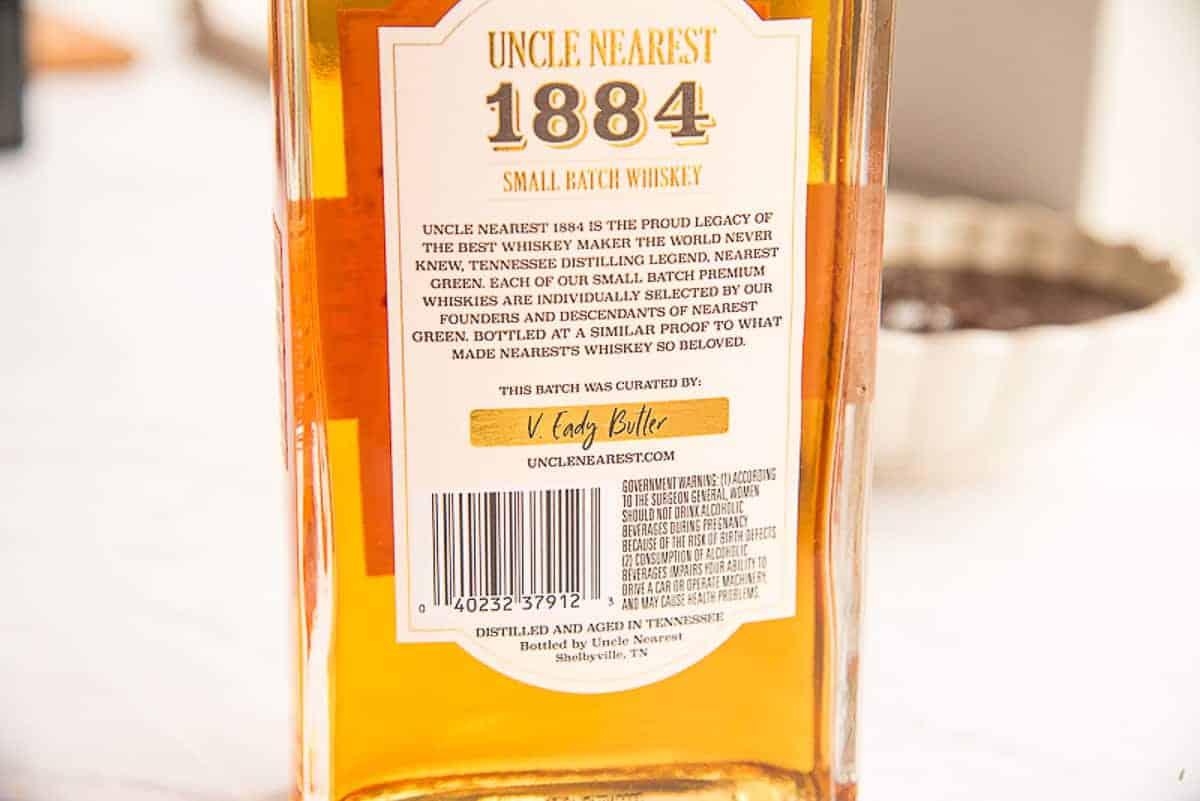 Back label of bottle of Uncle nearest 1884 whiskey bottle.