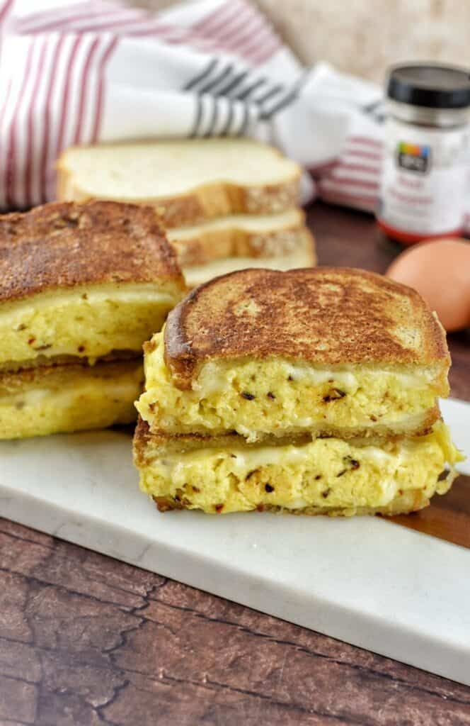 French Toast Breakfast Sandwich on a white plate