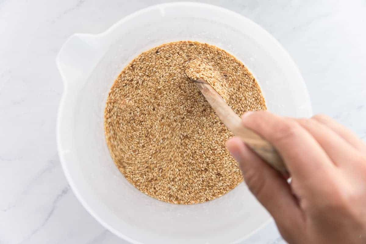 The seeds are stirred into warm water before being allowed to soak overnight.