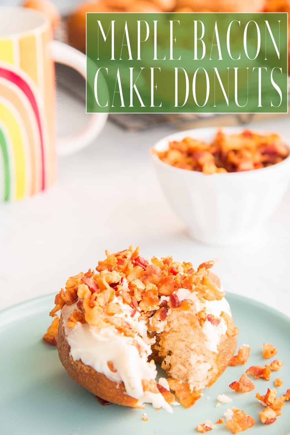 These easy-to-make Maple Bacon Cake Donuts will become your family's favorite breakfast, brunch. or dessert. Use homemade cake donuts by making my Easy Cake Donut recipe, or buy pre-made donuts. Either way you're bound to fall in love with these. #cakedonut #maplebacon #maplebacondonut #maplebaconcakedonuts #maplesyrup #bacon #breakfast #brunch #dessertdonuts #baking #frieddonuts #Thanksgiving #autumn #fall #holidaybreakfast via @ediblesense