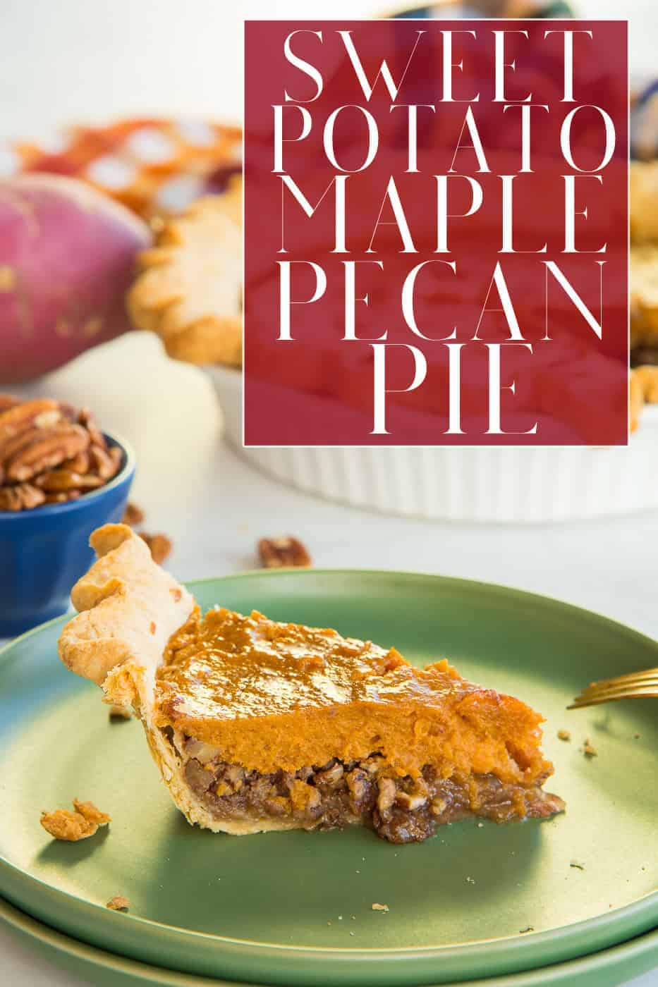 No need to choose between your favorite pies any longer. Combine the creamy spiced sweet potato pie with the caramel and nutty flavor of pecan pie in one fantastic dessert. This Sweet Potato Maple Pecan Pie is a must for all of your family gatherings and holiday meals. #sweetpotato #sweetpotatopie #sweetpotatopuree #maplesyrup #mapledessert #sweetpotatopierecipe #pecanpie #pecanpierecipe #maplepecanpie #sweetpotatopecan #holidaybaking #holidaydessert #holidayrecipe #holidaypie #Thanksgiving #Christmas #NewYears via @ediblesense
