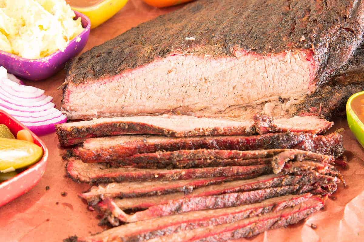 Close up shot of the Coffee-Rubbed Smoked Brisket slices
