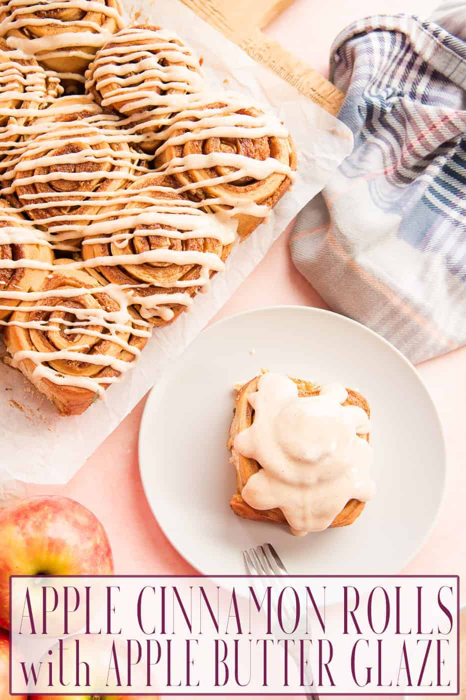 These Apple Cinnamon Rolls with Apple Butter Glaze are the best apple season has to offer. With apple butter baked into the bread dough and mixed into the cream cheese glaze, on top of the thin slices of apples rolled into the dough, you apple lover's have found your match. #apple #applerecipes #appleroll #applefritter #applepastries #applebakingrecipe #bakingapples #applecinnamon #breakfast #cinnamonrolls #creamcheeseglaze #applebutter #honeycrispapples #dessert #fallbaking #fallrecipes via @ediblesense
