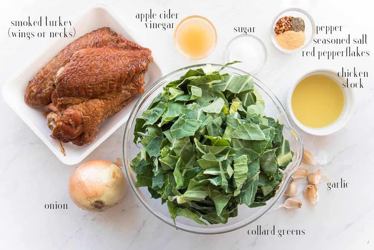 Ingredients needed to make Slow-Cooker Collard Greens with Smoked Turkey smoked turkey, apple cider vinegar, sugar, black pepper, seasoned salt, red pepper flakes, chicken (or turkey) stock, garlic, collard greens, and onions.