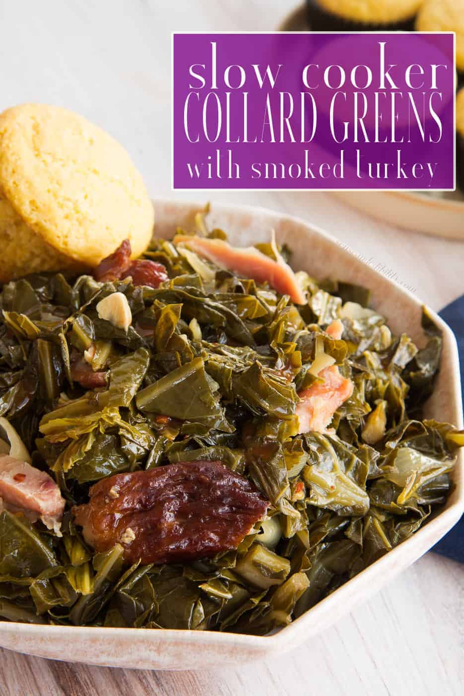 Leave your slow cooker to do all of the work with these Country-Style Slow Cooker Collard Greens with Smoked Turkey. Flavorful, tender, and so easy to make, this will be a favorite recipe to cook and eat. Freezer-friendly, too. Use smoked turkey or smoked pork. #collardgreens #smokedturkey #slowcookerrecipe #collardgreensrecipes #holidayrecipes #greensrecipe #holidaygreens #smokedhamhocks #smokedturkeywings #smokedturkeylegs #smokedneckbones #Thanksgivingrecipe #Christmasrecipe #familydinner #sundaydinner via @ediblesense